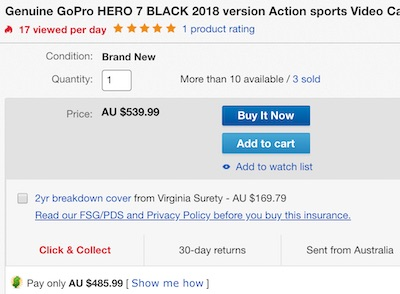 GoPro HERO7 Black 2018款 运动相机 4K高清防水防抖 – 9折优惠!