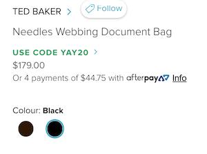 TED BAKER Needles Webbing 男士单肩斜挎文件包 - 8折优惠!