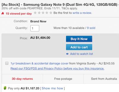 [Au Stock] 三星 Samsung Galaxy Note 9 (Dual Sim 4G/4G, 128GB/6GB) 智能手机 - 8折优惠!