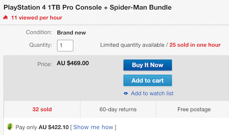 SONY 索尼 PlayStation PS4 Pro 1TB 游戏主机 + Spider-Man 套装– 额外9折优惠!