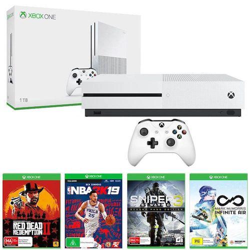 Xbox One S 1TB版 主机 + Red Dead Redemption 2 + NBA 2K19 游戏套装 – 低至4折优惠!
