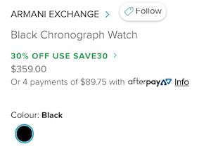 Armani Exchange Black Chronograph 黑色男士时尚手表 - 7折优惠!