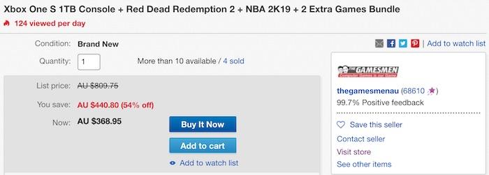 Xbox One S 1TB版 主机 + Red Dead Redemption 2 + NBA 2K19 游戏套装 - 低至4折优惠!