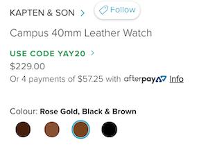 KAPTEN &  SON Campus 40mm  男士皮带时尚腕表 - 8折优惠!