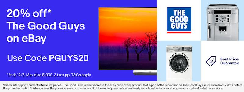 澳洲家电卖场 The Good Guys eBay 店:全场所有商品享 – 额外8折优惠!