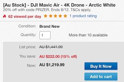大疆 DJI Mavic Air 便携可折叠4K高清 无人机 白色版 - 7折优惠!