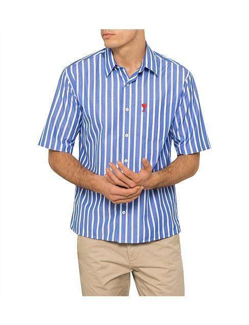 AMI 男士条纹短袖衬衣 7折优惠!