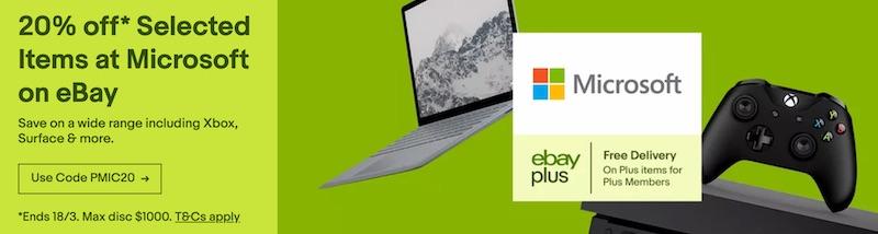 澳洲省钱快讯【ebay优惠码】 微软官方 eBay 店:部分精选商品 – Surface 系列电脑、Xbox One 及 Bose 耳机等 – 额外8折优惠! 1