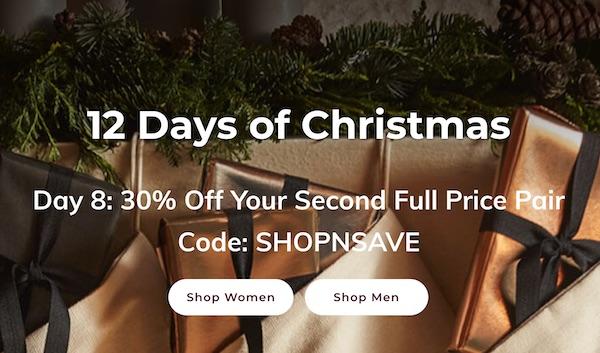 鞋履品牌 Ecco 圣诞季活动:购买正价商品 第二件可享7折优惠!