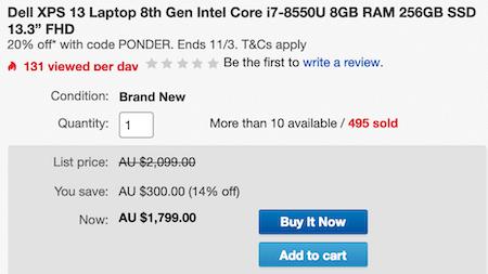 澳洲省钱快讯【ebay优惠码】                         DELL 戴尔 XPS 13-9360 13.3寸 超极本(i5-8550U、8GB、256GB)- 68折优惠!                         券后$1439! 2