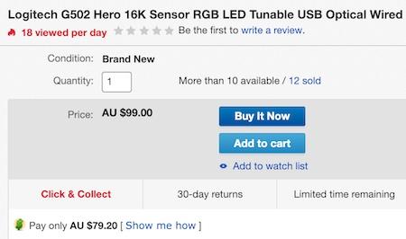 Logitech 罗技 G502 RGB炫光自适应 有线游戏鼠标 - 8折优惠!