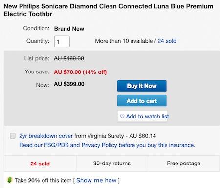 澳洲省钱快讯【ebay优惠码】                         PHILIPS 飞利浦 钻石亮白型 电动牙刷 星空蓝色款 – 65折优惠!                         券后$319! 1