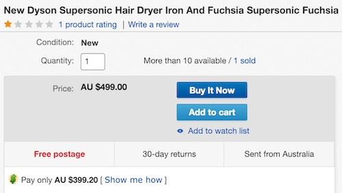 澳洲省钱快讯【ebay优惠码】                         Dyson 戴森 Supersonic 无风叶高颜值电吹风 三色可选 – 8折优惠!                         券后$399!可退税! 2