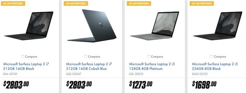 微软 Microsoft Surface 系列产品 – Pro 6、Laptop 2  – 85折优惠!