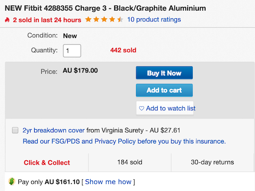 澳洲省钱快讯:ebay优惠码                         Fitbit Charge3 智能手环 2018款 7天续航– 8折优惠!                         券后$143! 1