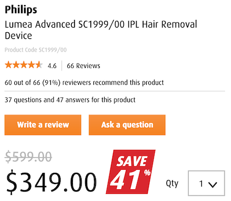 PHILIPS 飞利浦 Lumea Advanced SC1999/00 IPL 脱毛器 - 6折优惠!