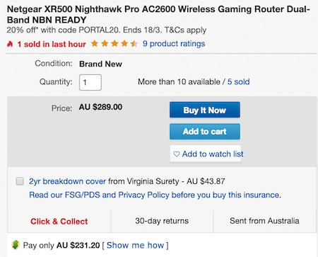 澳洲省钱快讯【ebay优惠码】 美国网件 Netgear XR500 Nighthawk Pro AC2600 双频千兆 专业游戏路由器 – 8折优惠! 券后$231! 2