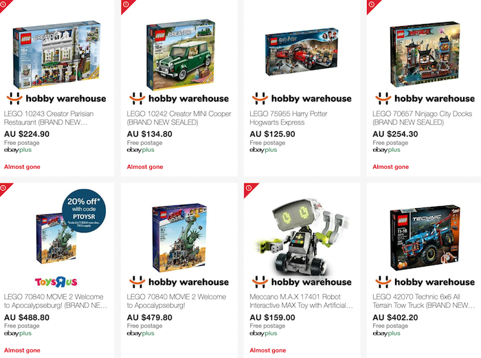 Toys R Us & Hobby Warehouse eBay 店内 Lego 等品牌玩具类商品 -