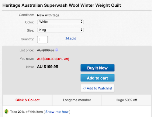 Heritage Australian Superwash Wool 澳洲羊毛被 - 低至4折优惠!