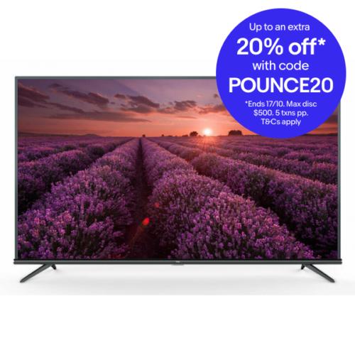 TCL 50P8M 50寸 4K HDR 电视 8折优惠!